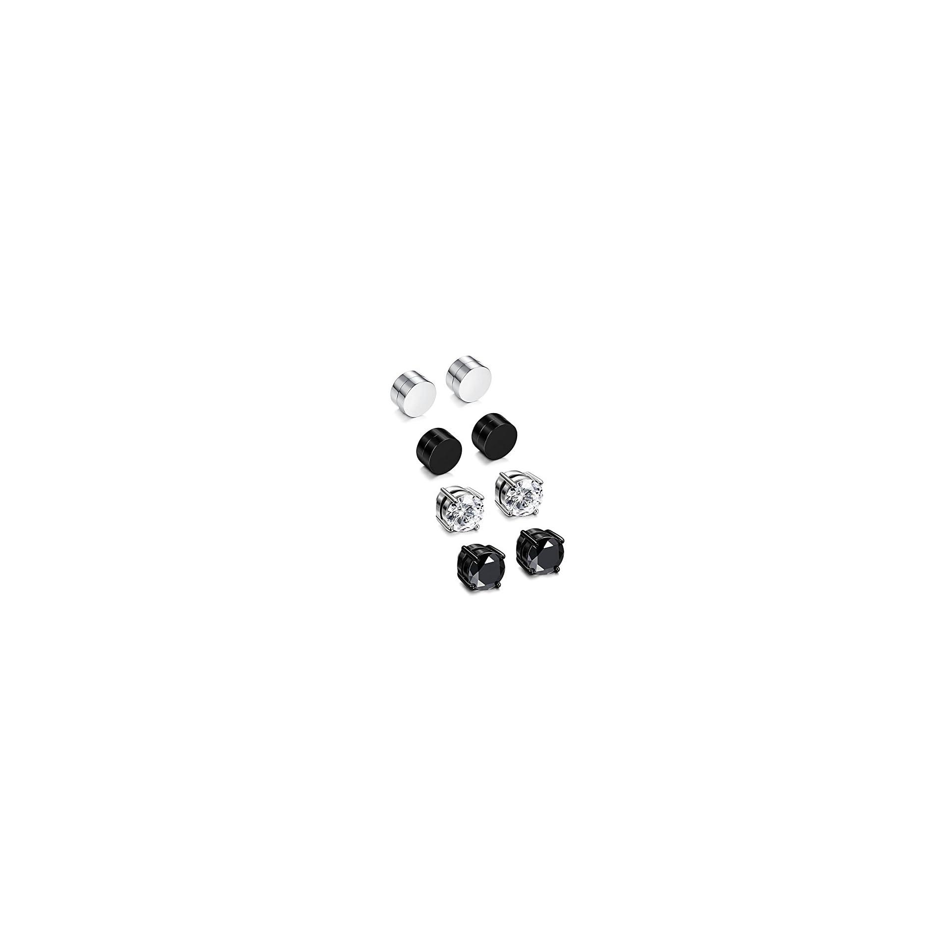 Sailimue 4 Paires Acier Inoxydable Boucles d/'Oreilles Magn/étique pour Homme Femme Ronde Boucle d/'Oreille Clip Non-Piercing CZ 6-8MM