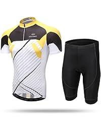 XINTOWN Verano Hombre Ciclismo Bicicleta Chaqueta de manga corta Cómodo Respirable Rápido Seco Camisas Tops 3D Cushion acolchado Pantalones Pantalones Pantalones Ropa deportiva ( Size : M )