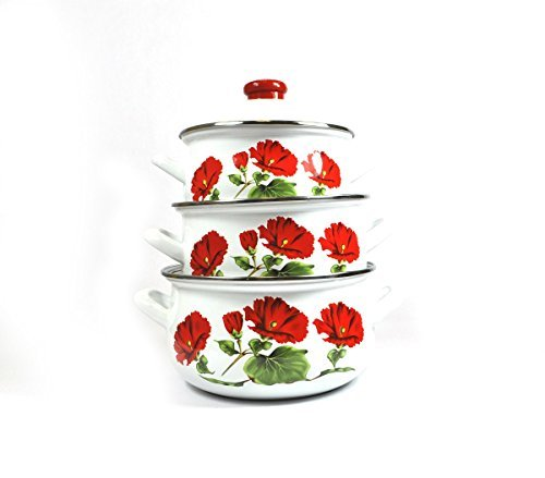 Uniware Super Quality Premium Enamel Cookware Set (6 Pieces Set, Red Rose Pattern) by UNIWARE