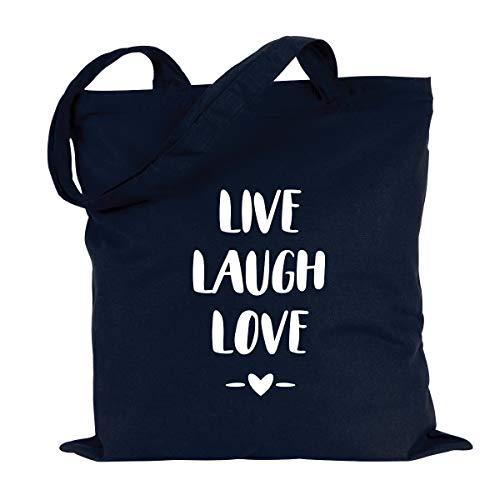 """JUNIWORDS Jutebeutel - Wähle ein Motiv & Farbe - """"Live Laugh Love"""" (Beutel: Marine Blau, Text: Weiß)"""