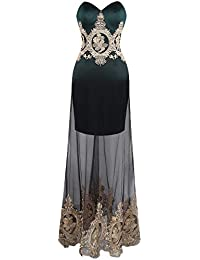Angel-fashions Womens Strapless Lace Embroidery See-Through Lace up Black Dress