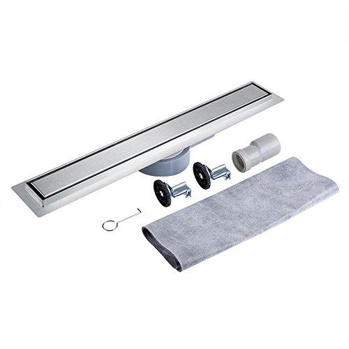 Nannday Lineare Duschrinne, lineare Edelstahlfliesen HideType Rechteckige 360 Grad Bodenablaufrinne für die Küche im Bad(90cm)
