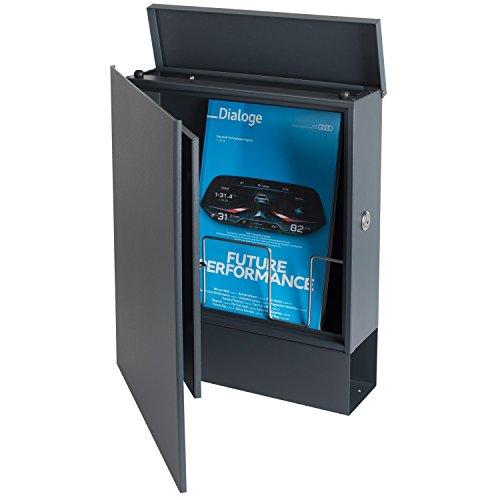 Design-Briefkasten mit Zeitungsfach 12 Liter grau-aluminium (RAL 9007) MOCAVI Box 111 Wandbriefkasten Postkasten Zeitungsrolle - 4