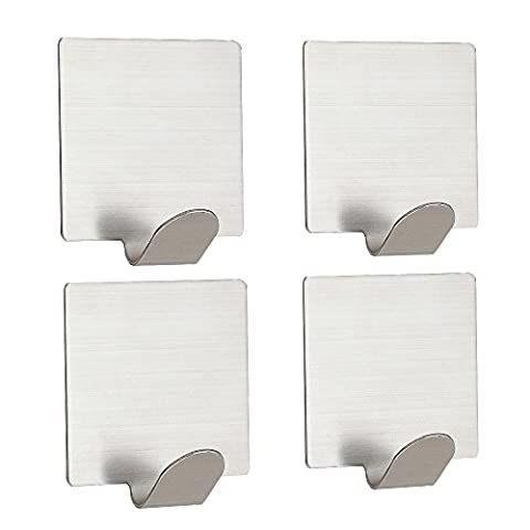 Coat Hooks by 3M Adhesive (4pcs), JTDEAL Self Adhesive Coat Hanger/Towel Rail/Bathroom Hooks for Kitchen Lavatory Closets, Stainless Steel, Brushed Finish, Water and Rust Proof, Heavy Duty (4.5 x 4.5cm)