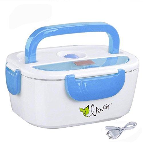 HJL comida térmico Lunch Box Fiambreras bento EU-enchufe eléctrica con Bandeja extraíble acero inoxidable,Recipiente de comida térmico 40W (azul)