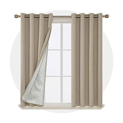 Deconovo tende camera da letto oscuranti termiche isolanti tende a pannello con rivestimento in argento per casa moderne 117x138cm beige 2 pannelli