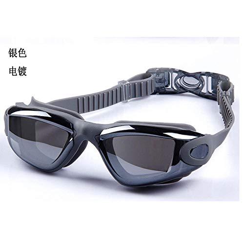 Dtcat Schwimmbrille Erwachsene,Antibeschlag-Schwimmbrille, Flache leichte HD-Brille, wasserdichter großer Rahmen @ Silver,Schwimmbrillen UV Schutz Kein Auslaufen für