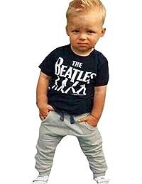 Koly 1 Set niño de los cabritos Chico camiseta + Pantalones largos trajes