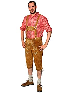 Trachten Lederhose Kniebundhose mit Trägern aus feinstem Veloursleder in hellbraun, Bayrische Trachtenlederhose...