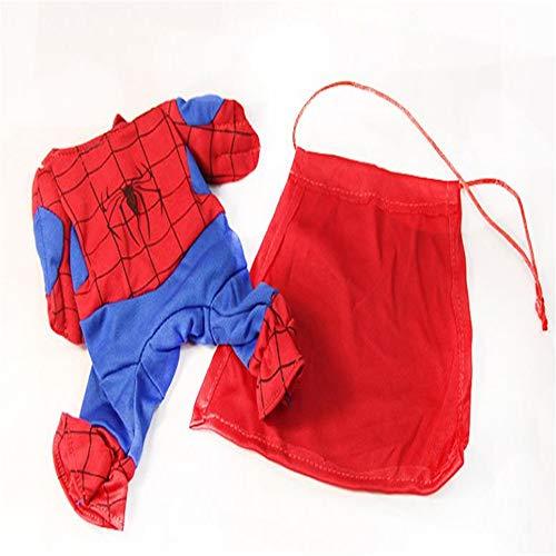 Juanquan Spiderman Hunde-Kostüm mit Umhang für Katzen, Tricky Spider Superman (Spider Kostüm Für Den Hunde)