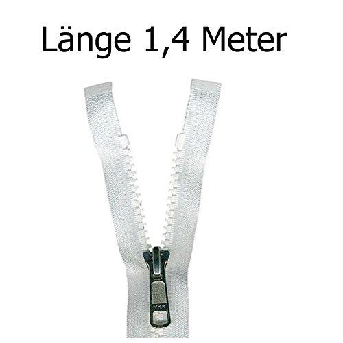 Reißverschluss aus Kunststoff für Bootsplanen, Persenning weiß 1,4 m