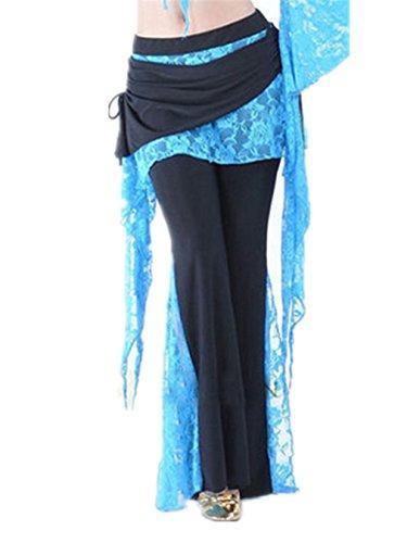 Damens Lace Bauchtanz Kostüm Hose Culottes Elastisch Hose Seite Schlitz (Tanz Fett Für Kostüme)