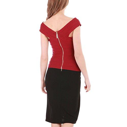 La Modeuse - Top côtelé moulant Rouge