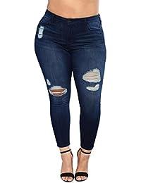 Sannysis Ropa Hombre Vaqueros para Mujer Cintura Alta Tallas Grandes  Pantalones Rotos Leggins Jeans Mujer Elástico Flacos c2a71b7d790