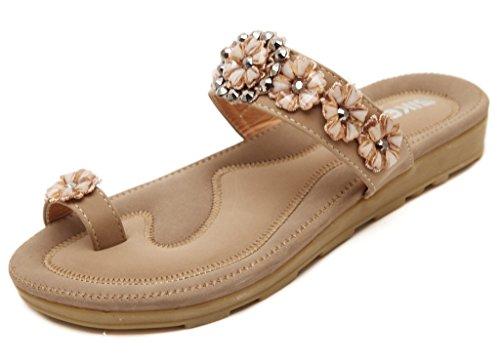 Fortuning's JDS Anello Toe Boho di estate Fiore scivolare su sandalo della spiaggia piatto Pantofole Beige