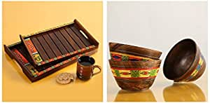 ExclusiveLane Madhubani Decorative Nested Wooden Serving Trays (35.3 cm x 24.9 cm x 3.8 cm) & Simply Ethnic Wood Serving Bowl, 250 ml, Set of 3, Brown Combo