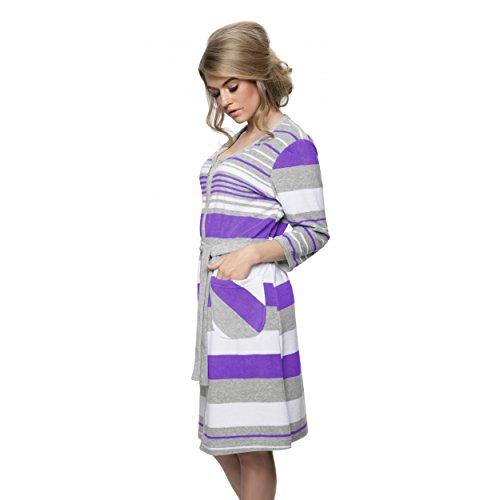 Aquarti Damen Morgenmantel mit Reißverschluss Frottee Violett