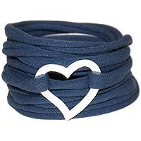 Wickelarmband - Stretcharmband - rauchblau - versilbertes Herz