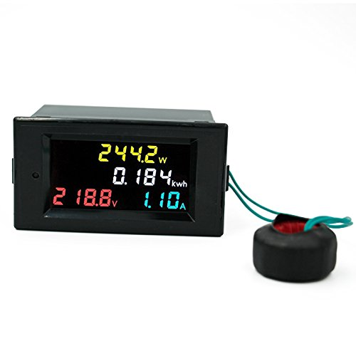 xcluma AC 80V - 300V 100A Single Phase 4 in 1 AC Voltmeter Ammeter Power Energy Meter Kwh Color Screen LED Display Single Phase