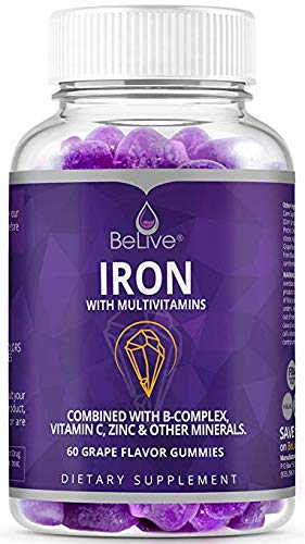 Iron Gummies with Vitamin C, Biotin, Zinc, Vitamins B Complex for Kids and Adults - Helps with Anemia, Boosts Hemoglobin, Improves Concentration & Other Healthy Functions - 60 Grape Flavored Gummy (Vitamin Kids Gummy)