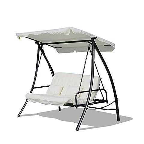 Outsunny® Hollywoodschaukel Gartenschaukel Schaukel Schaukelbank mit Liege-Funktion, 3 Sitzer, Metall+Polyester, Weiß, 200x125x170cm