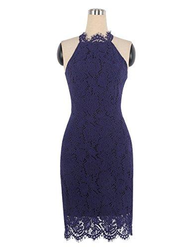 U8Vision Damen Wimpernspitze Elegant Abendkleider Mini Rückenfrei Sommerkleid Cocktailkleid Partykleider Gr.S-XXL Dunkelblau