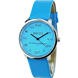 WoMaGe Mathematik Zifferblatt Damen Quarz Mode Armbanduhr Blau