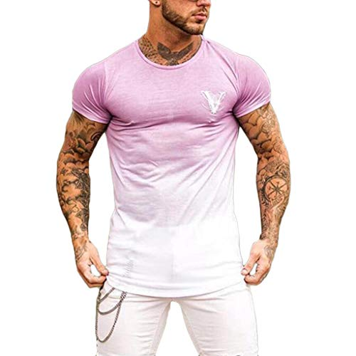 Camisetas Hombre Manga Corta,YanHoo Cuello Redondo de Moda para...