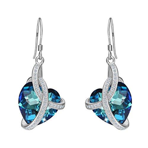 3 Herzen Kostüm Der (Clearine Damen 925 Sterling Silber CZ Unendlichkeit Love Herz von der See Dangle Ohrringe Kristall von Swarovski Bermuda)