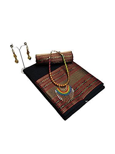 Saree Mall Women's With Blouse Piece Linen Silk Saree (Lnn113_N1 _Black_Free Size)