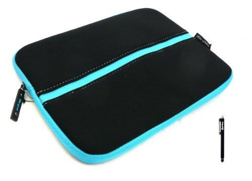 Emartbuy® Thomson TH-BK1 10 Pouce Tablette PC Noir Stylet + Targus Noir Bleu ( 10-11 Pouce Tablette / Netbook ) Résistant à L'eau Pochette Sleeve Etui Case Cover Zippée Souple en Néoprène
