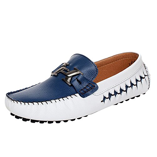 Icegrey Hommes Mocassins Cuir Décontractée Conduire Voiture Glisser Chaussure Flâneurs Bleu