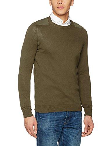 New Look Herren Pullover Patch Yoke Crew Brown (Mid Brown)