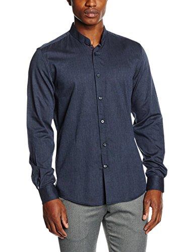 Antony morato camicia manica lunga collo coreana contrasto interno finta ed interno collo, camicia da uomo, blu intenso, 50