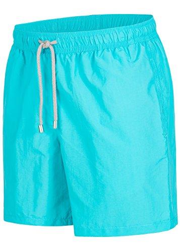 Herren Badeshorts - in vielen trendigen Farben - Badehose Bermudashort (S, Opal Blue)