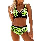 F.Lashes Damen Bikini Set Zweiteilige Tanknis Sexy Badeanzug Rückenfrei Mit Schleife Druck Atmungsaktiv Schnelltrockend Casual Bademode Sommer
