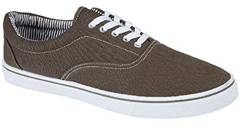 Schnürturnschuhe für Damen und Herren, Skate-/Bootsschuhe, unisex, Schuhgrößen 40,5-47, Braun - khaki - Größe: 45 - Gola-spitze Schuhe