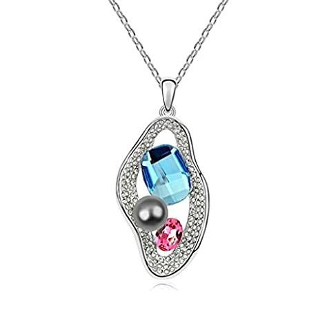 Daesar Gold Plated Women's Halo Pearl Necklace Rhinestone CZ Pendant Necklace for Women
