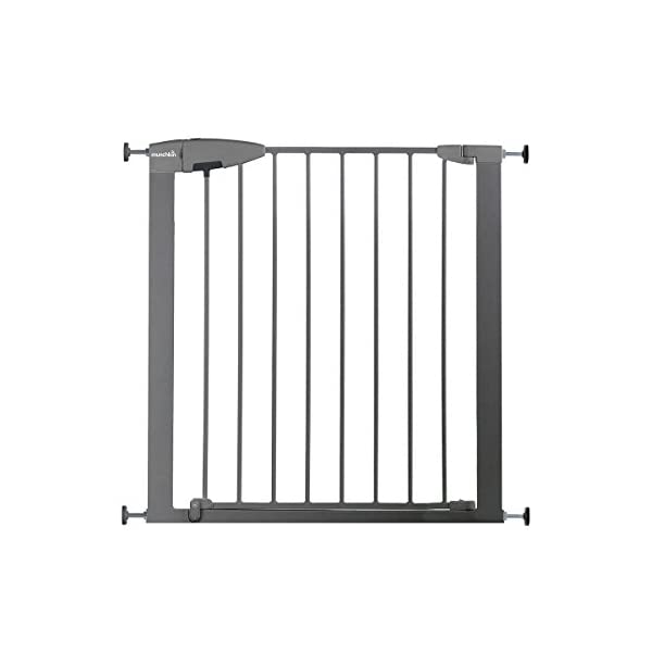 Munchkin Safety Gate Easy Lock (Silver) Munchkin Safety gate with easy lock and easy closure by pushing with one hand The pressure indicator ensures correct installation of the barrier The press-fit U frame allows 4 points firmly fixed by Assembly pressure 2