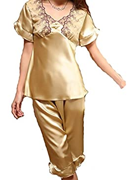 YUYU Ritagliata pantaloni Casual casa pigiama seta a maniche , l , picture color