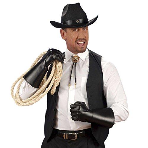 Lederhandschuhe schwarz Handschuhe Leder Optik Cowboy Herrenhandschuhe Western Fingerhandschuhe Zorro Bandit Kunstlederhandschuhe Gothic Accessoires Karneval Kostüm Zubehör (Zorro Handschuhe)
