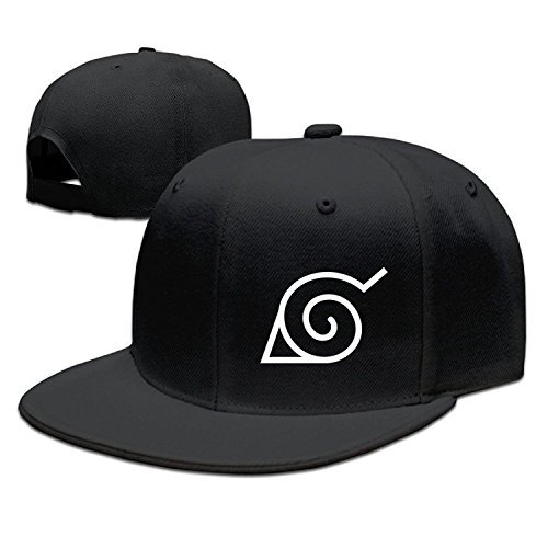 CEDAEI Japanese Comic Village Logo Naruto Shippuden Flat Bill Snapback Adjustable Tour Cap Hat Black (Bill-logo-cap)