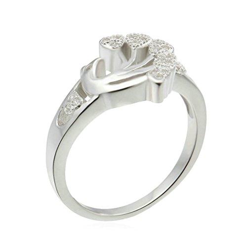 AMDXD Schmuck Damen Ringe S925 Sterling Silber Ehering Phoenix Herz Weiß Größe 54 (17.2)