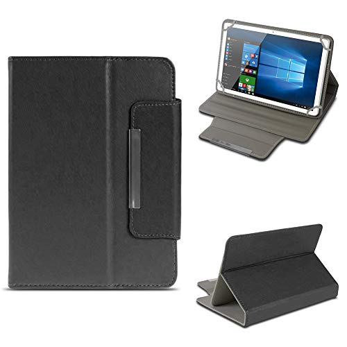 NAUC Odys Cosmo Win X9 Tablet Schutzhülle Tasche aus Kunst-Leder Hülle Standfunktion Cover Universal Case Magnetverschluss, Farben:Schwarz
