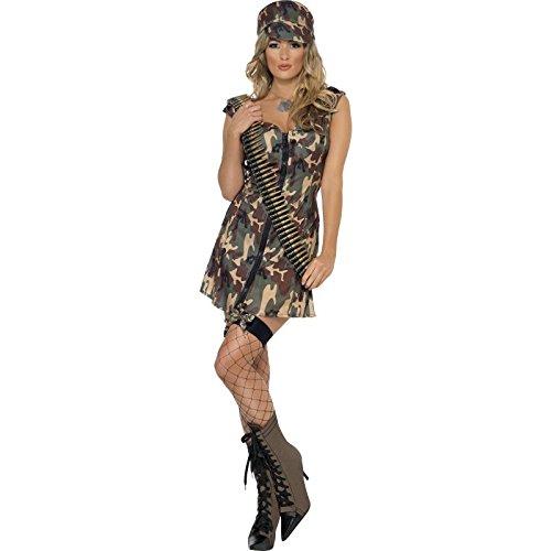 Damen Armee Kostüm (Smiffys, Damen Armee Girl Kostüm, Kleid und Mütze, Größe: S,)
