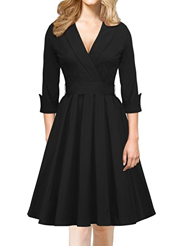 iLover Damen Abendkleid 3/4 Ärmel V Neck bowknot Cocktailkleid Rockabilly 50er Jahre Party Brismaid Swing Kleid Schwarz (Tanz 1960 Kostüme)