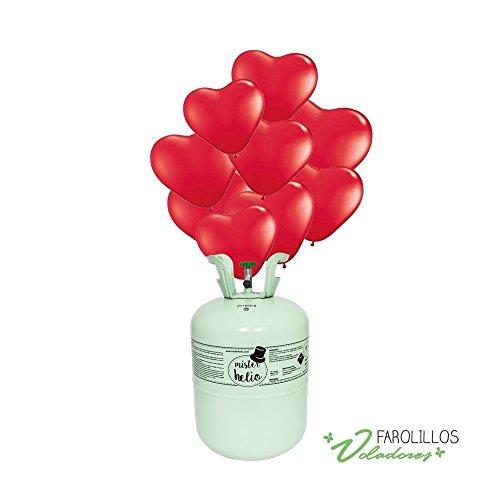Bombona de Helio Desechable Mister Helio + 30 Globos de Corazones Rojos Latex. La botella de Helio más molona
