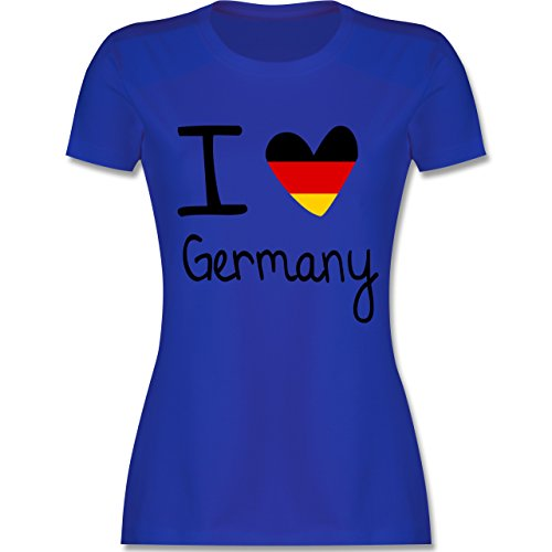 Fußball-Weltmeisterschaft 2018 - I Love Germany - M - Royalblau - L191 - Damen T-Shirt Rundhals