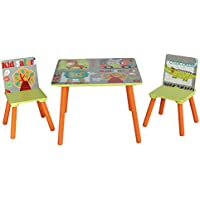 Preisvergleich für LibertyHouseToys TF4808 Kid Safari Tisch und 2 Stuhl, Holz, grün, 60 x 60 x 44 cm
