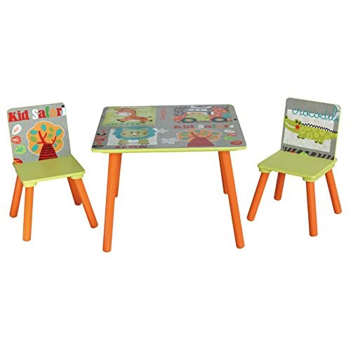 Liberty House Toys Wooden Table and Chairs Set, MDF, Green, Orange, red, Blue, 44 H x 60cm W x 60 D